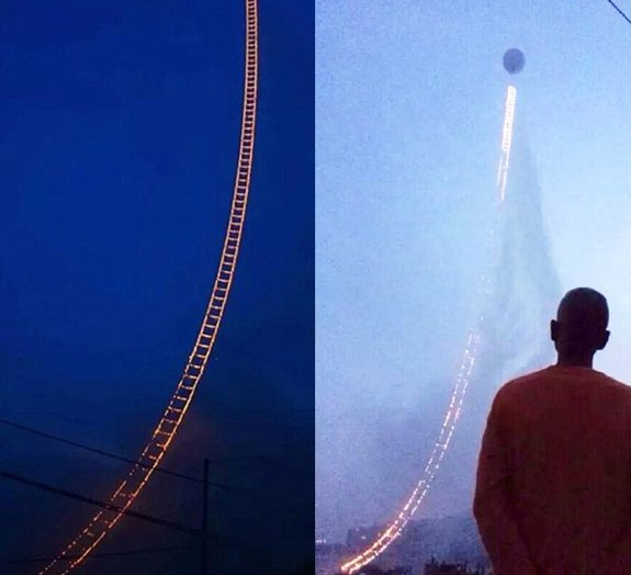 Fogos de artifício formam uma impressionante 'Escada para o Céu', na China
