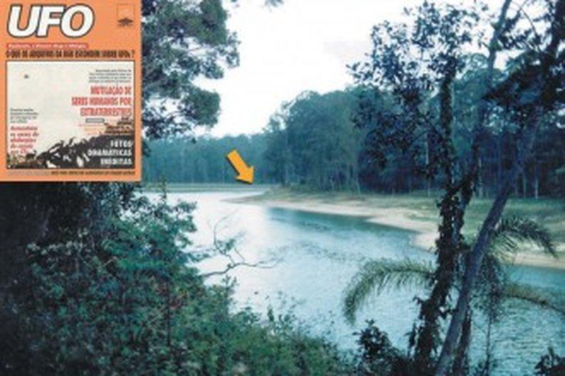 Local em que foi encontrado o cadáver e capa da primeira revista que noticiou o caso