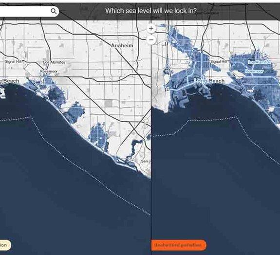Mapa interativo mostra efeitos do aquecimento global nas cidades litorâneas