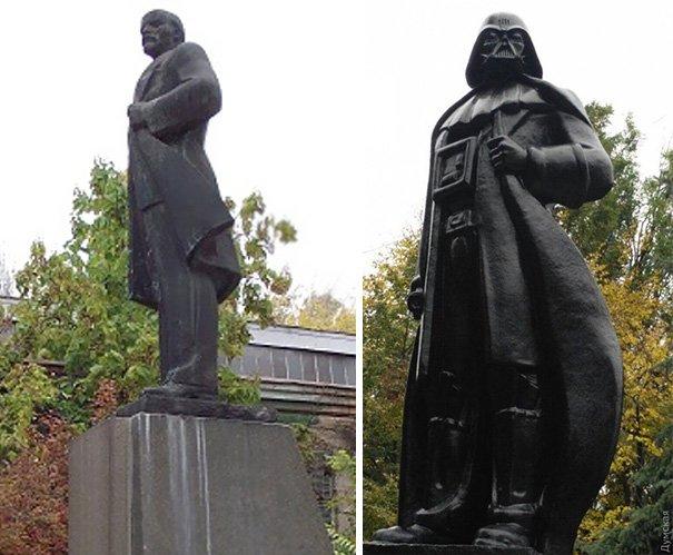 Na Ucrânia, antiga estátua de Lenin vira homenagem à Darth Vader [galeria]