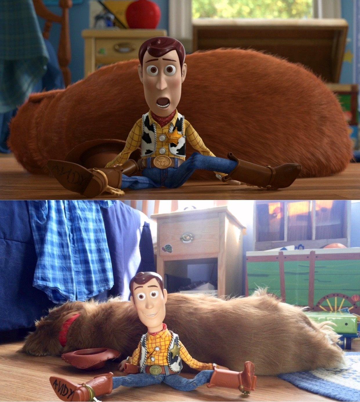 Até a cena com o cachorro teve uma versão recriada na vida real