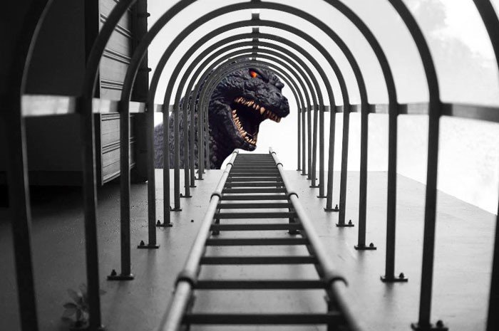 Yu Wei tirou a foto das escadas e não esperava registrar o Godzilla