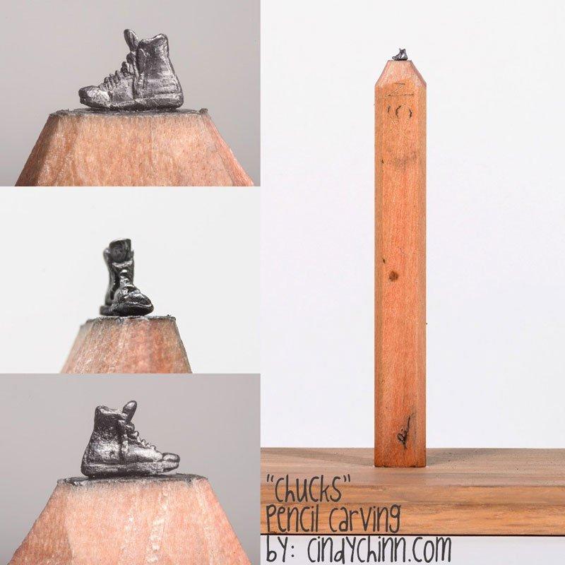 Artista plástica americana esculpe em grafites de lápis de carpintaria