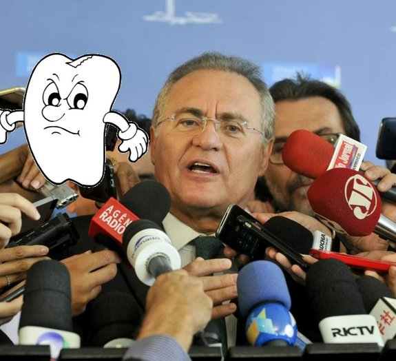 Em dia tenso em Brasília, dente de Renan Calheiros cai antes que a Dilma
