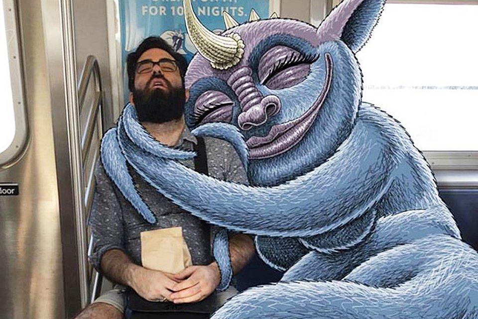 Ilustrador adiciona criaturas surreais ao lado de passageiros do metrô - Mega Curioso