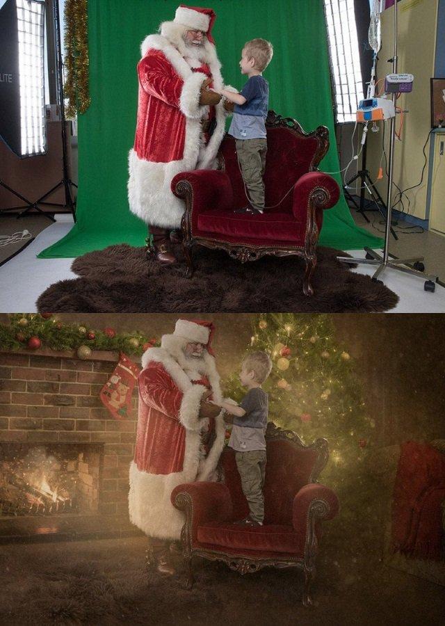 Photoshop do bem: Natal de crianças doentes é transformado em cenas mágicas