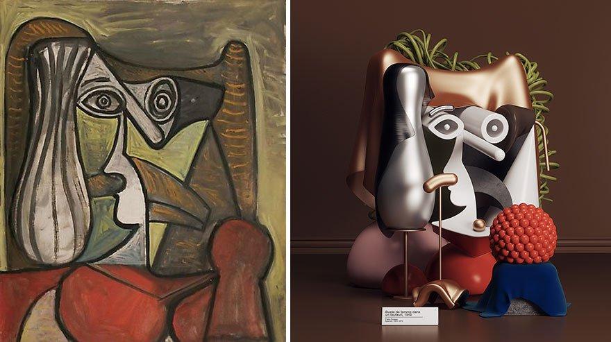 Artista transforma obras de Picasso em incríveis esculturas em 3D