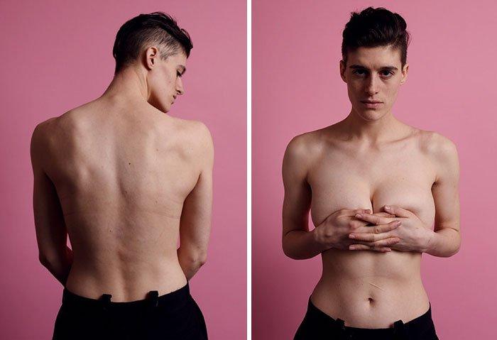 Modelo andrógena questiona estereótipos ao posar como homem e mulher