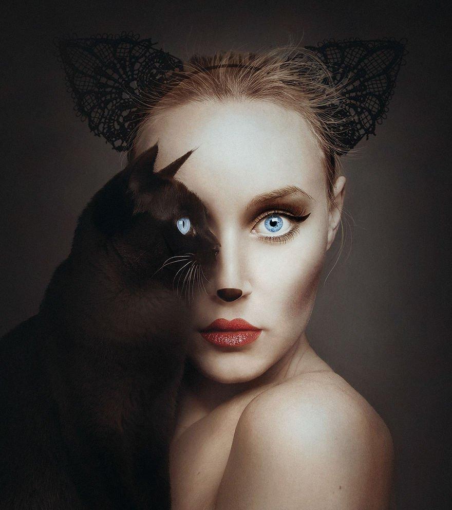 Artista cria fotos incríveis ao misturar seu rosto com os de animais