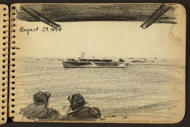 Os desenhos feitos por um soldado que esteve na Segunda Guerra Mundial