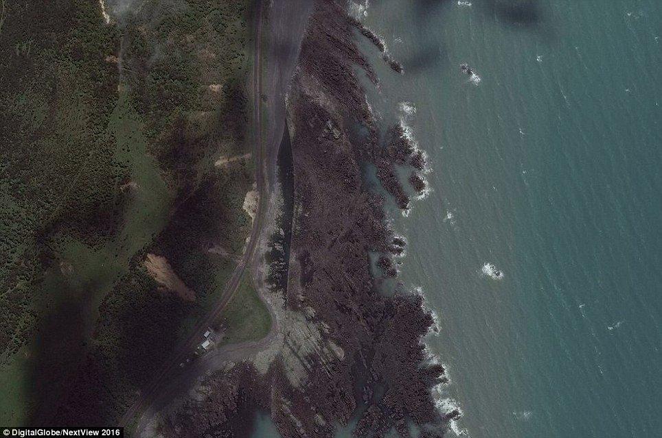 Litoral de Kaikoura após o terremoto: mar recuou e praia se elevou