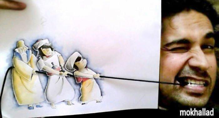 Este cara combina desenhos com realidade de um jeito incrível