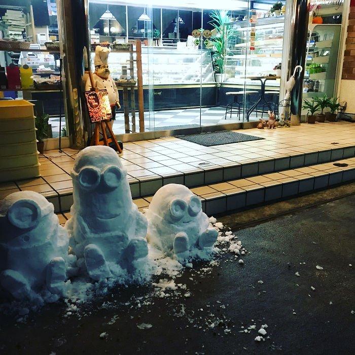 É isto o que acontece quando neva no Japão