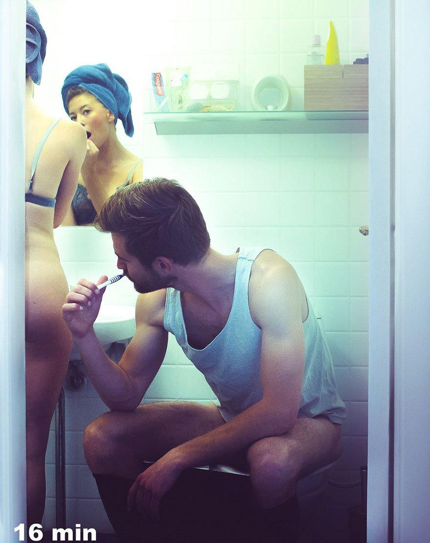 Fotógrafa posa para fotos íntimas ao lado de pessoas totalmente estranhas