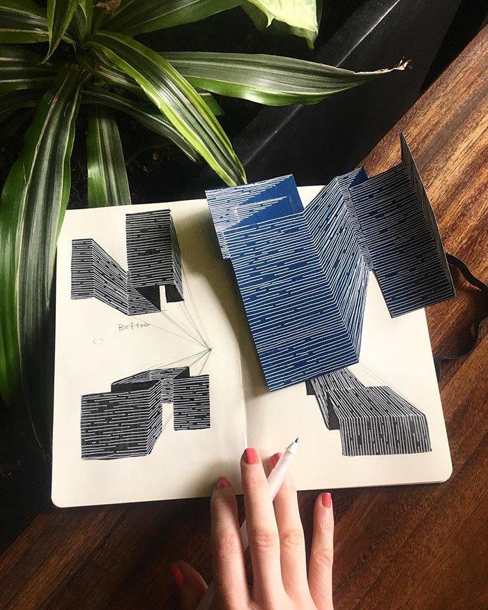 Esta artista produz trabalhos incríveis com ilusão de óptica