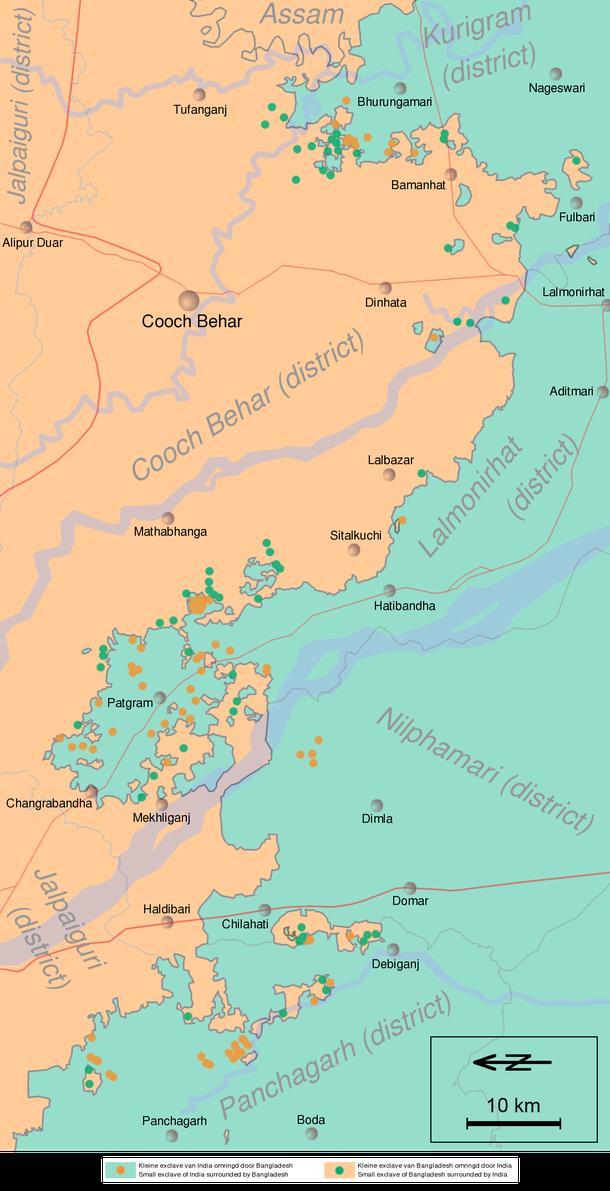 As centenas de enclaves indianos e bangladenses (Imagem: Wikimedia Commons)