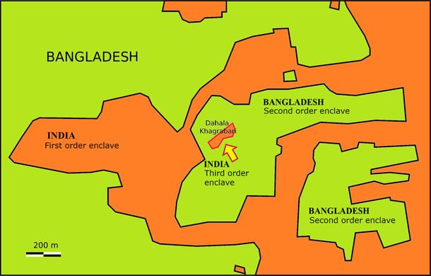 O enclave de terceiro grau de Dahala Khagrabari (Imagem: Wikimedia Commons)