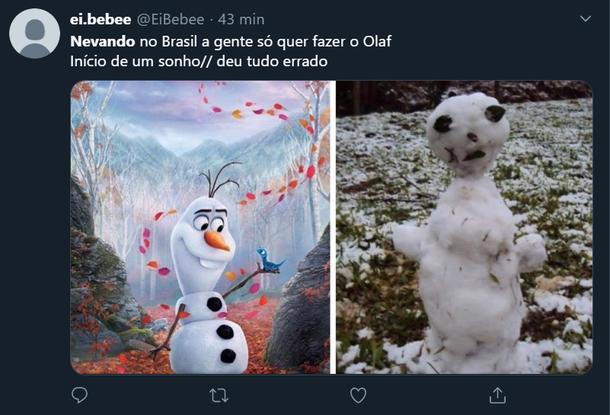 Com falta de matéria-prima adequada, os brasileiros acabam criando versões curiosas do tradicional boneco de neve. (Fonte: Twitter/Reprodução)