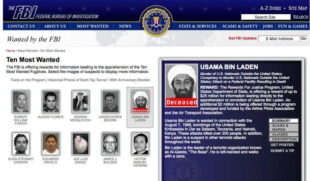 Site do FBI aponta a morte de Osama Bin Laden. (Fonte: Wikimedia Commons)