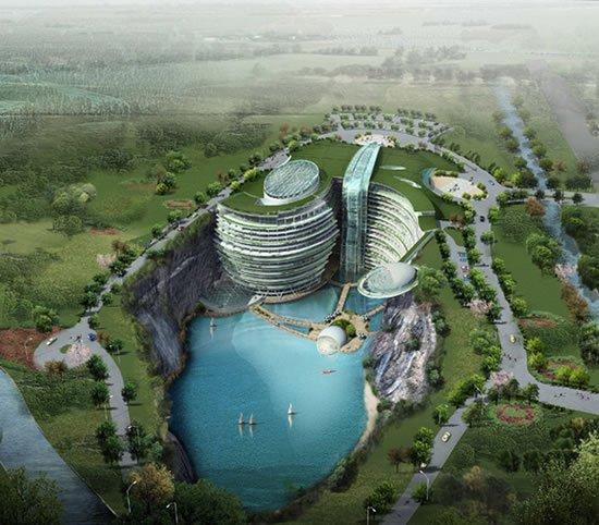 Shangai terá hotel de luxo construído em pedreira abandonada