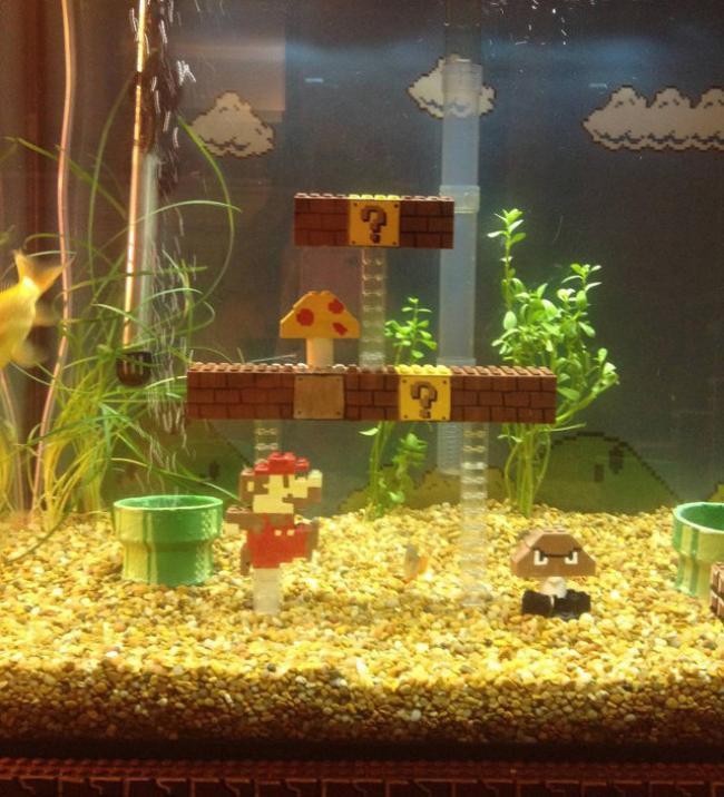 Super Mario em versão LEGO invade um aquário [vídeo]