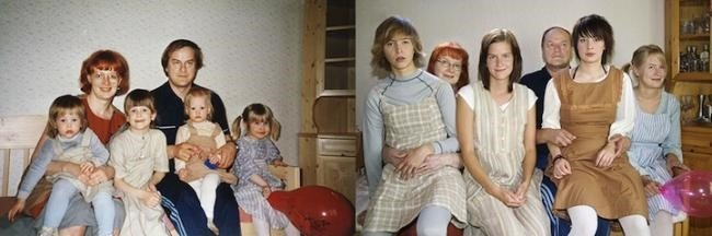 Fotógrafa finlandesa recria suas fotos de infância depois de adulta